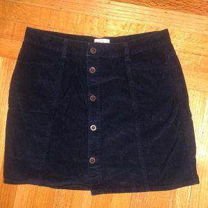 Jack Wills Blue Corduroy Front Botton Skirt